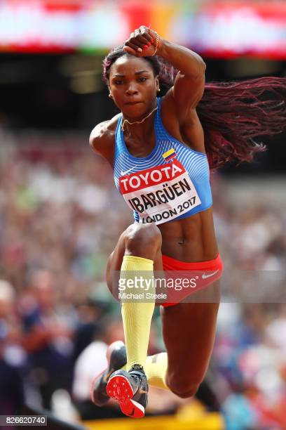 Caterine Ibargüen of Colombia competes in the Women's Triple Jump qualification during day two of the 16th IAAF World Athletics Championships London...