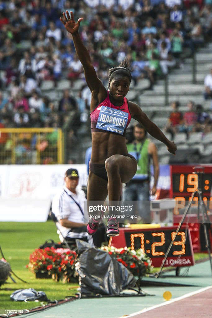 Caterine Ibarguen from Colombia makes a big in the Womens Triple Jump during the 2013 Belgacom Memorial Van Damme -IAAF Diamond League on September 6, 2013 in Brussels, Belgium.