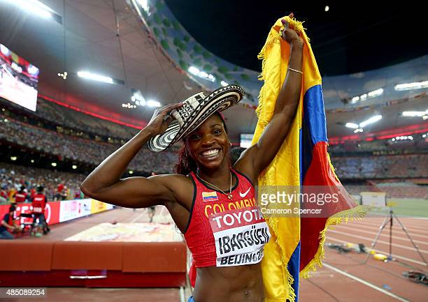 Caterine Ibarguen of Colombia celebrates after winning gold in the Women's Triple Jump final during day three of the 15th IAAF World Athletics...