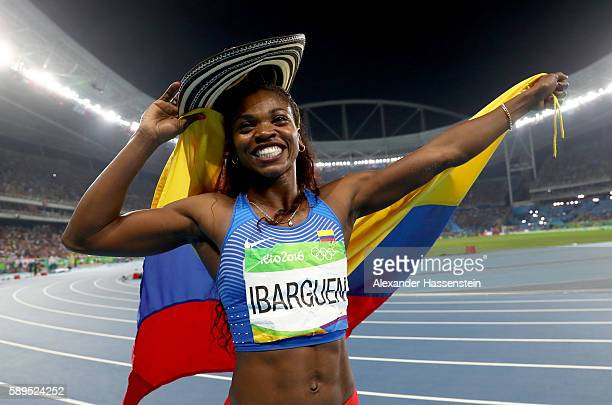 Caterine Ibarguen of Colombia celebrates placing first in the Women's Triple Jump final on Day 9 of the Rio 2016 Olympic Games at the Olympic Stadium...