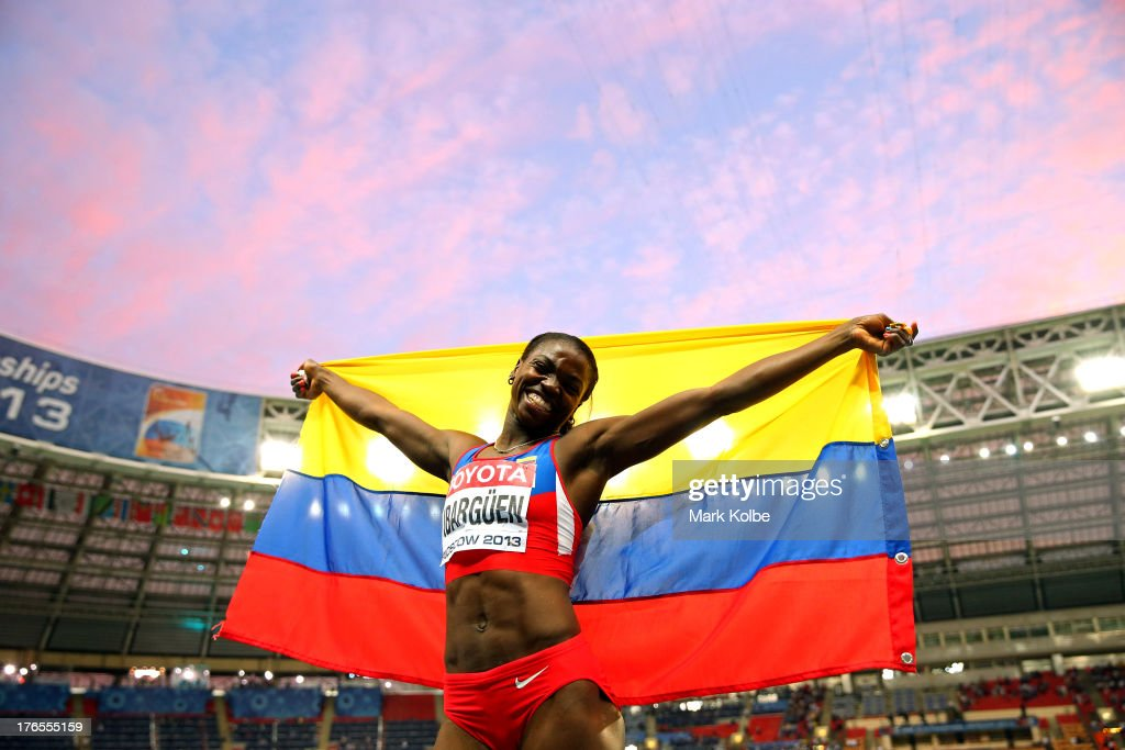 <a gi-track='captionPersonalityLinkClicked' href=/galleries/search?phrase=Caterine+Ibarguen&family=editorial&specificpeople=4014993 ng-click='$event.stopPropagation()'>Caterine Ibarguen</a> of Colombia celebrates winning gold in the Women's Triple Jump final during Day Six of the 14th IAAF World Athletics Championships Moscow 2013 at Luzhniki Stadium on August 15, 2013 in Moscow, Russia.