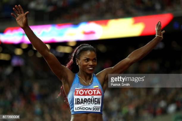 Caterine Ibarguen of Colombia celebrates winning silver in the Women's Triple Jump final during day four of the 16th IAAF World Athletics...