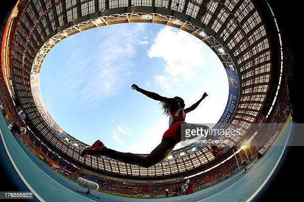 THIS IMAGE WAS CREATED WITH A FISH EYE LENS Caterine Ibarguen of Colombia competes in the Women's Triple Jump final during Day Six of the 14th IAAF...
