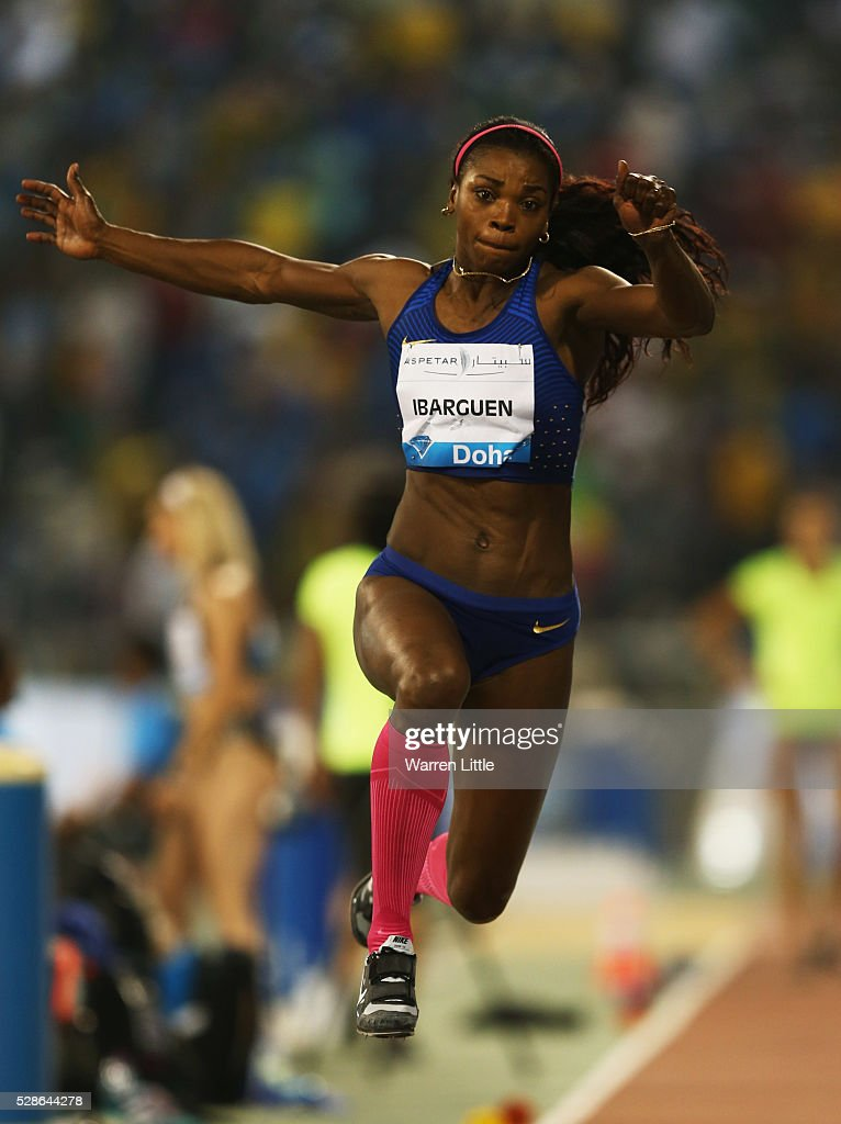Caterine Ibarguen of Colombia competes in the Women's Triple Jump final during the Doha IAAF Diamond League 2016 meeting at Qatar Sports Club on May 6, 2016 in Doha, Qatar.
