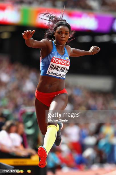 Caterine Ibarguen of Colombia competes in the Women's Triple Jump qualification during day two of the 16th IAAF World Athletics Championships London...
