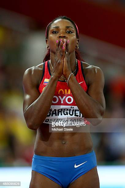 Caterine Ibarguen of Colombia looks on before competing in the Women's Triple Jump final during day three of the 15th IAAF World Athletics...