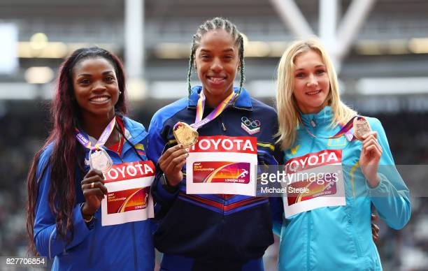 Caterine Ibarguen of Colombia silver Zurian Hechavarria of Cuba and Olga Rypakova of Kazakhstan bronze pose with their medals for the Women's Triple...