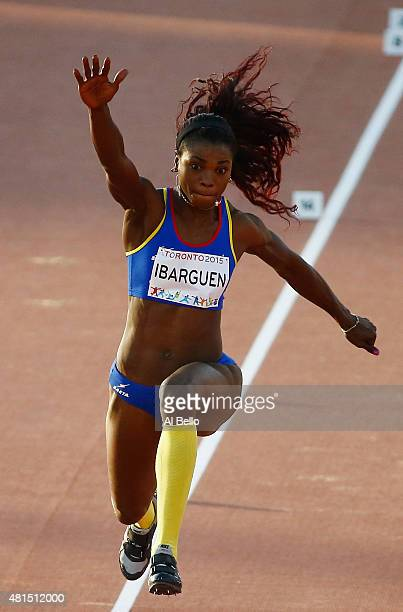 Caterine Ibarguen of Columbia competes in the Women's triple jump at the Pan Am Games on July 21 2015 in Toronto Canada