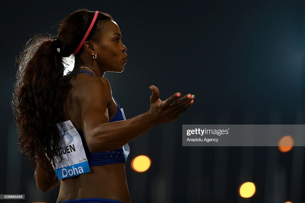 Caterine Ibarguen of Columbia competes in the women's triple jump event at the Diamond League athletics competition at the Qatars Sports Club Stadium in Doha on May 6, 2016.