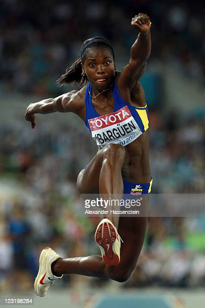 Caterine Ibarguen of Columbia competes in the women's triple jump final during day six of the 13th IAAF World Athletics Championships at the Daegu...