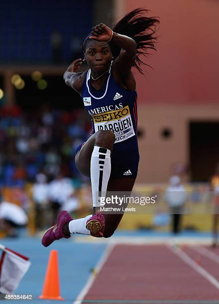 Caterine Ibarguen of the Americas wins the Womens Triple Jump Final during day one of the IAAF Continental Cup at the Stade de Marrakech on September...