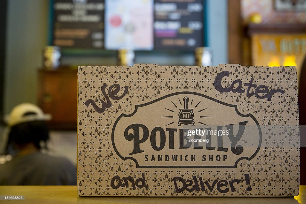 A catering box sits inside a Potbelly Sandwich Shop in Washington, D.C., U.S., on Tuesday, Oct. 15, 2013. Potbelly Corp., the Chicago-based purveyor of made-to-order toasted sandwiches, held its initial public offering (IPO) on Oct. 4. Photographer: Andrew Harrer/Bloomberg via Getty Images