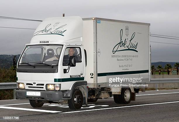 A catering food lorry arrives at the wedding of Julio Jose Iglesias and Charisse Verhaert at palacio El Rincon on November 3 2012 in Madrid Spain