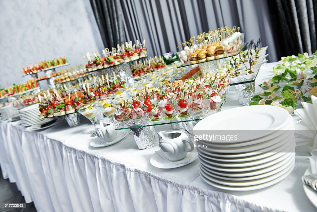 catering service table with food set stock photo getty images. Black Bedroom Furniture Sets. Home Design Ideas