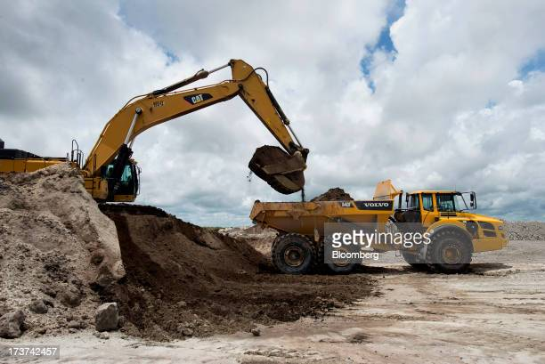 A Caterpillar Inc 374D L hydraulic excavator loads silica sand into a Volvo AG A40F dumper truck at the Stewart Mining Plant in Fort Pierce Florida...