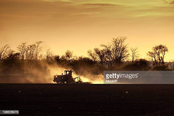 Caterpillar Tractor plowing field at sunset