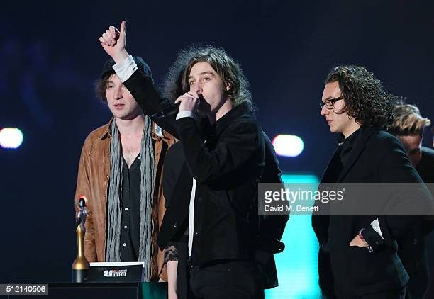 Catfish and the Bottlemen accept the British Breakthrough Act award at the BRIT Awards 2016 at The O2 Arena on February 24 2016 in London England