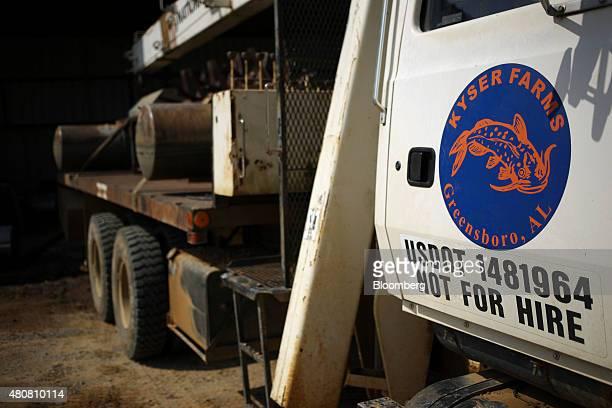 Catfish harvesting equipment bears the logo of Kyser Farms aquaculture farm in Greensboro Alabama US on Thursday July 9 2015 Mississippi Alabama...