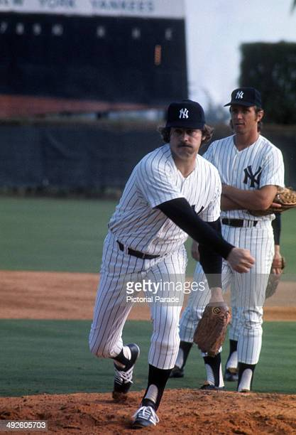 Catfish Hunter of the New York Yankees warmsup during spring training in March 1975 in Tampa Florida
