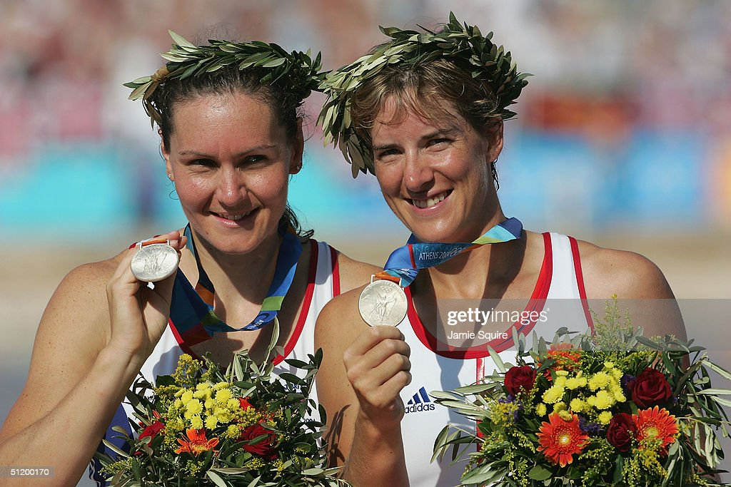 Cath Bishop and Katherine Grainger of Great Britain celebrate winning the Silver medal in the women's pair rowing final on August 21, 2004 during the Athens 2004 Summer Olympic Games at the Schinias Olympic Rowing and Canoeing Centre in Athens, Greece.