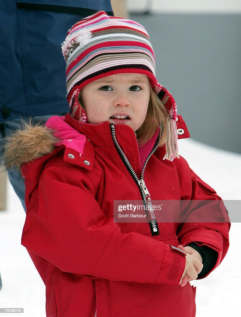 Catharina-Amalia of the Netherlands poses for photographs at the start of her annual Austrian skiing holiday on February 11, 2006 in Lech, Austria.