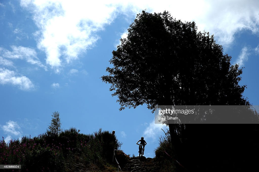 Catharine Pendrel of Canada rides on her way to winning the Gold Medal in the Women's Cross Country Mountain Biking at Cathkin Braes Mountain Bike Trails during day six of the Glasgow 2014 Commonwealth Games on July 29, 2014 in Glasgow, United Kingdom.