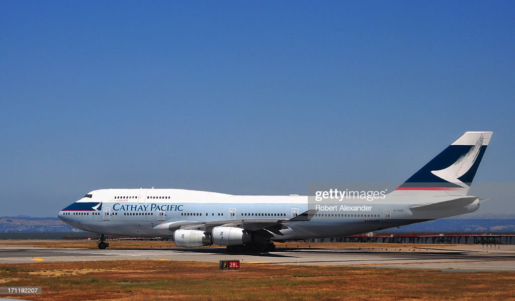 Cathay Pacific Boeing 747 aircraft takes off from San Francisco International Airport in San Francisco California