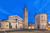 Cathedral and Baptistry located on Piazza Duomo in Parma, Emilia-Romagna, Italy