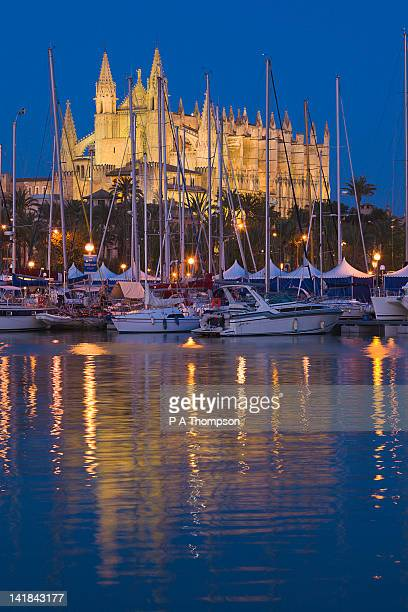 Cathedral and marina at night, Palma, Mallorca, Spain