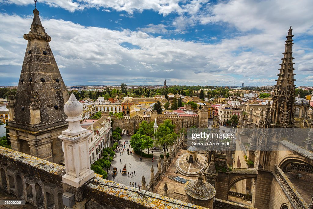 Cathedral And Reales Alcazares In Seville Stock Photo  Getty Images