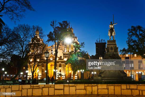 Cathedral and San Martin Statue in Cordoba in Argentina October 2010