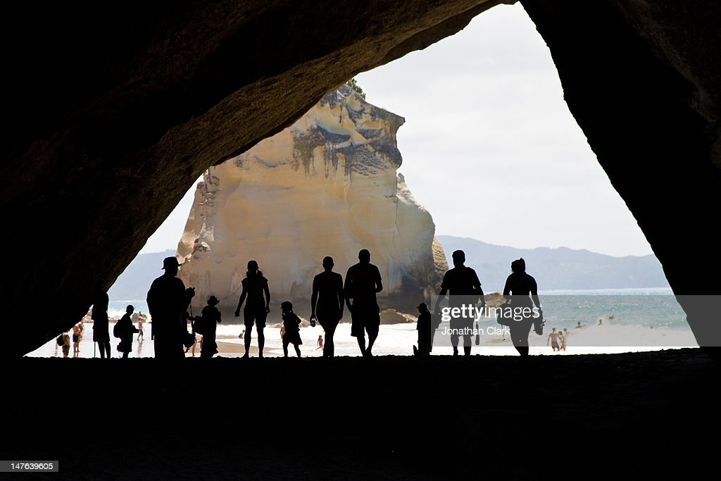 Cathedral cove silhouette : Stock Photo