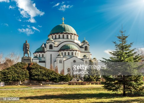 Cathedral in Belgrade, Serbia on a beautiful sunny day : Stock Photo