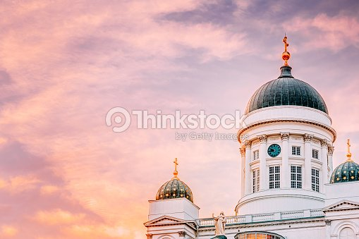 c911a755932 Cathedral In Helsinki Finland Summer Sunset Evening Stock Photo ...