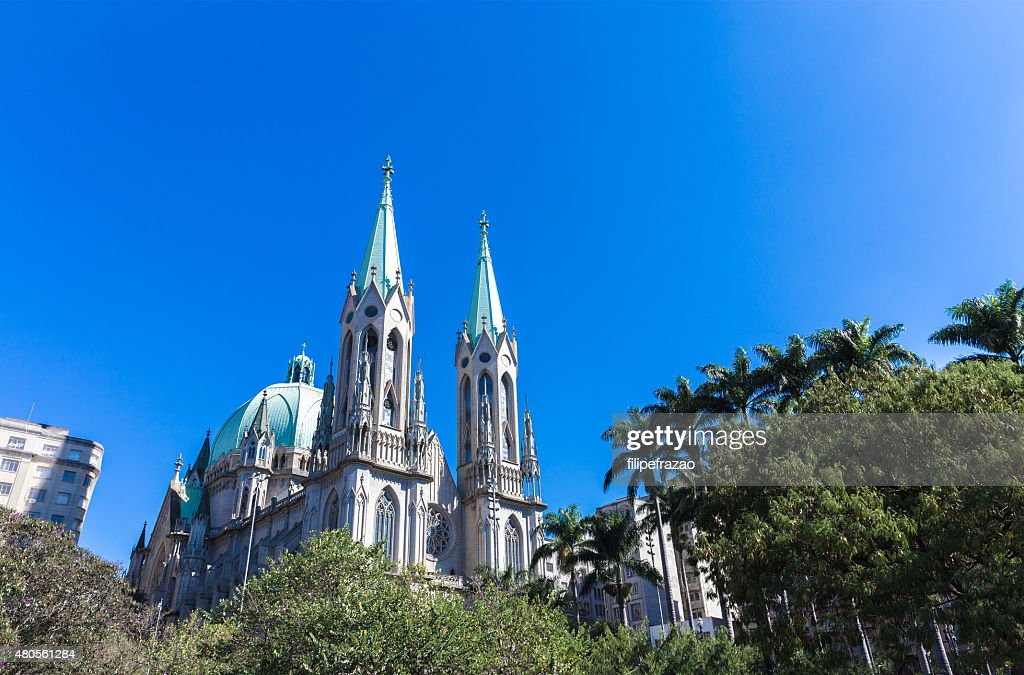 Sé Cathedral in Sao Paulo, Brazil : Stock Photo