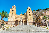 Facade of the cathedral of Cefalu, of style called Sicilian Romanesque, in Sicily, Italy