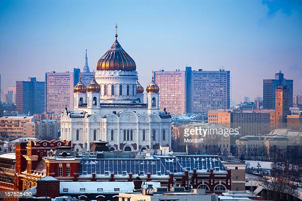 Cathedral of Christ the Saviour church in winter. Moscow, Russia
