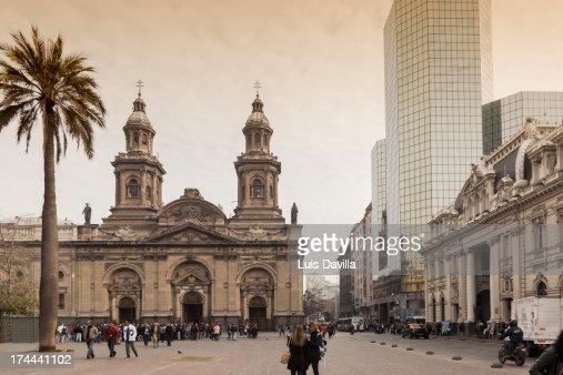 cathedral of plaza de armas  in santiago de chile