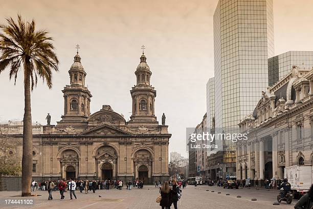 cathedral of plaza de armas  in santiago de chile