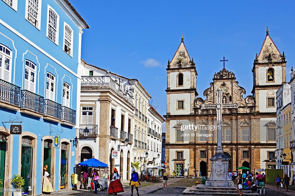 Cathedral of Salvador , people in square