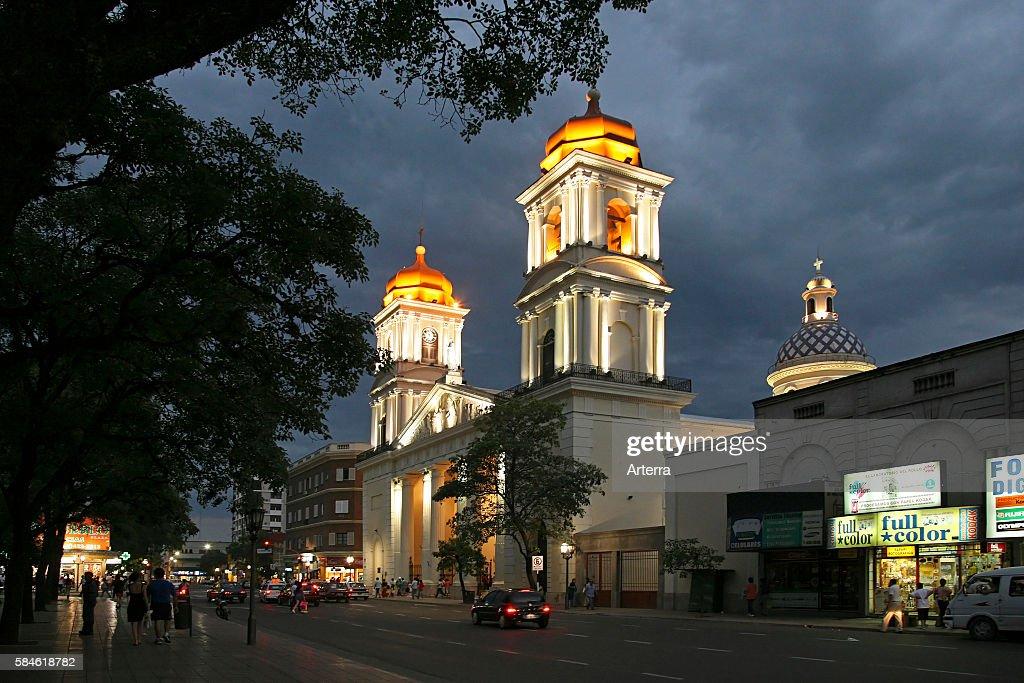 Cathedral of San Miguel de Tucuman at night Argentina
