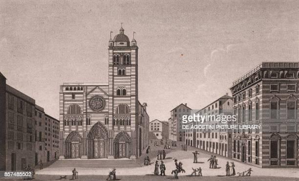 Cathedral of St Lawrence and Palazzo Negroni Genoa Liguria Italy aquatint ca 19x115 cm from Viaggio in Italia per Francesco Gandini ovvero...