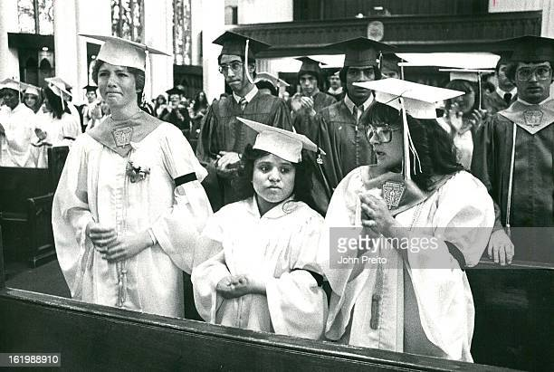 MAY 23 1982 Cathedral of the Immaculate conception sad faces were shown after being told about the school closing LR Theresa Frank senior class vice...