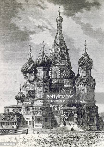 Cathedral of the Protection of Most Holy Theotokos on the Moat or Saint Basil's Cathedral on Red Square in Moscow Russia engraving from Free Russia...