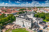 View of Cathedral Square of Vilnius, Lithuania. The Cathedral of Vilnius is the heart of Catholic spiritual life in Lithuania.