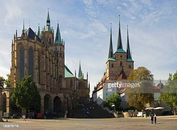 Cathedral Square with Erfurt Cathedral and Severikirche Church on Domberg hill, Erfurt, Thuringia, Germany, Europe