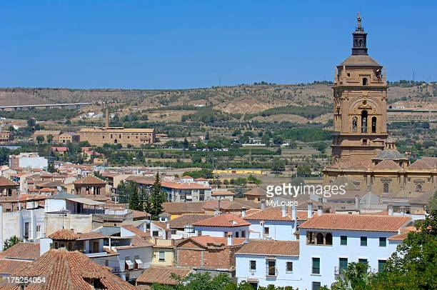 Cathedral view from Santiago troglodyte quarter Guadix Marquesado region Granada province andalusia Spain