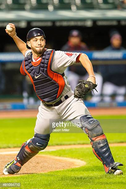 Cather Blake Swihart of the Boston Red Sox throws out Yan Gomes of the Cleveland Indians at first to end the first inning at Progressive Field on...