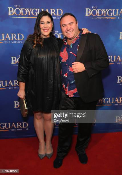 Catherine Alcorn and Trevor Ashley arrives ahead of opening night of The Bodyguard The Musical at Lyric Theatre Star City on April 27 2017 in Sydney...