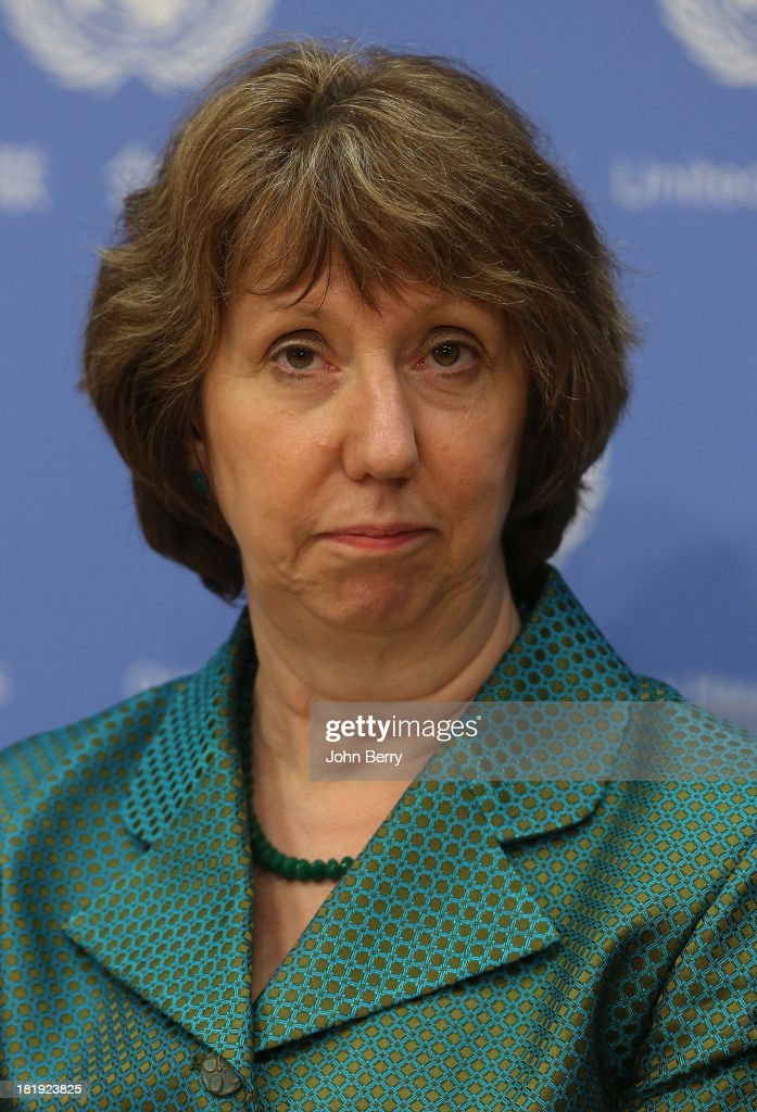 <a gi-track='captionPersonalityLinkClicked' href=/galleries/search?phrase=Catherine+Ashton&family=editorial&specificpeople=2314228 ng-click='$event.stopPropagation()'>Catherine Ashton</a>, European Union High Representative for Foreign Affairs attends the 68th session of the United Nations General Assembly on September 25, 2013 in New York City.